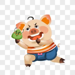 拿着粽子的小猪图片