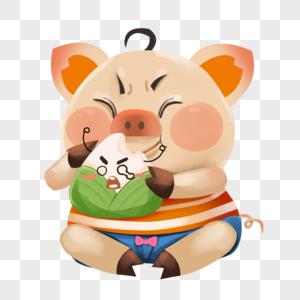 坐着吃粽子的小猪图片