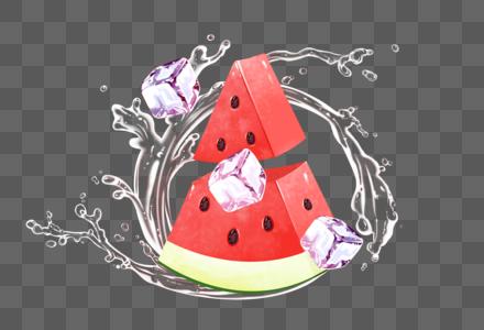 西瓜与冰块图片