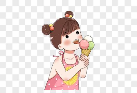 吃冰激凌的小女孩图片