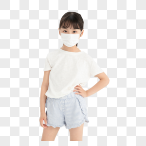 佩戴口罩的小女孩形象图片