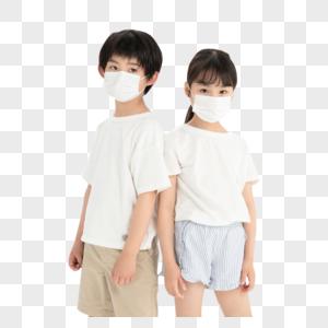 佩戴口罩的儿童形象图片