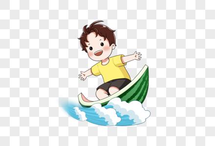 踩着西瓜皮冲浪的小孩图片