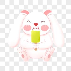 吃雪糕的兔子图片