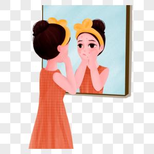 女孩长痘痘在浴室里照镜子图片
