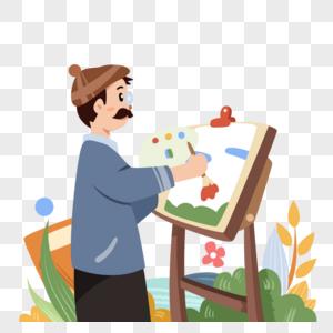 手绘美术老师图片