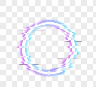 断层霓虹灯圆边框元素图片