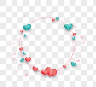 红色绿色爱心圆边框图片