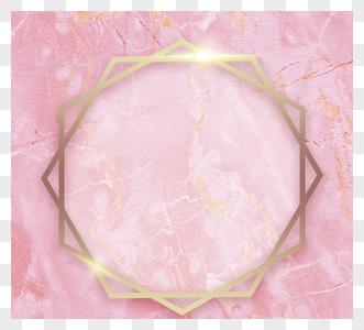 明亮金色边框粉大理石图片