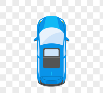 卡通俯视图蓝色轿车图片