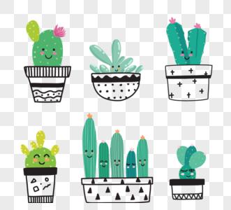 绿色卡通手绘风格可爱盆栽仙人掌元素图片