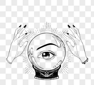 神秘眼睛占卜水晶球双手黑色线条装饰图片