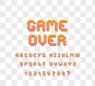 果冻效果游戏卡通像素字母表图片