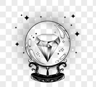 美丽钻石星星神秘占卜水晶球黑色装饰线条图片