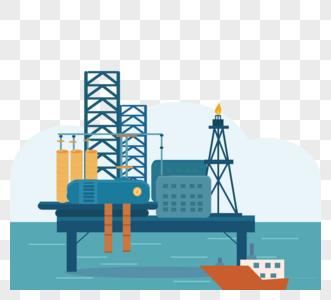 海洋风石油蓝色海洋海上开采石油矢量元素图片