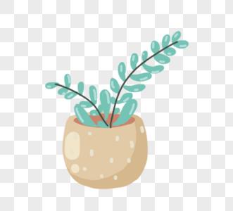 手绘清新盆栽绿色植物元素图片