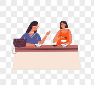 卡通手绘女孩共同进餐休闲时光图片