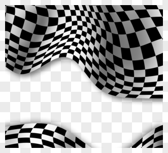 黑白曲线格子赛车边框图片