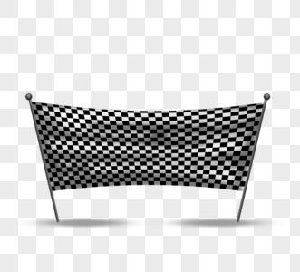 黑白赛车格子旗元素图片