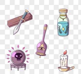 紫色手绘风格神秘器具图片