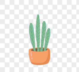 可爱卡通绿色植物粉红色盆栽图片