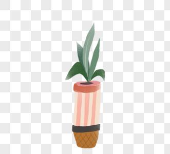 手绘可爱卡通绿色植物盆栽图片