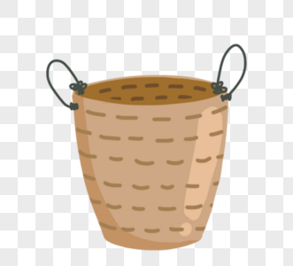 手绘可爱卡通盆栽盆黄色盆栽图片