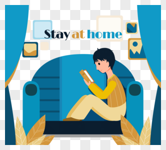沙发书男孩盆栽黄色蓝色留在家里装饰图片