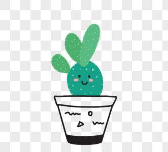 手绘可爱卡通绿色植物黑色盆栽图片