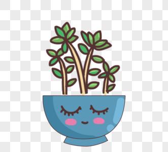 可爱卡通绿色植物粉色盆栽图片