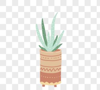 手绘可爱卡通绿色植物灰色盆栽图片