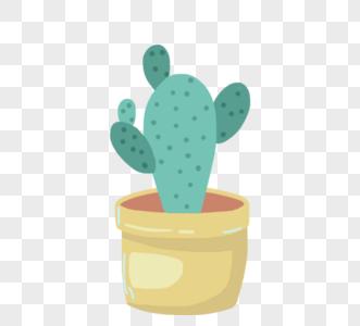可爱卡通绿色仙人掌盆栽图片