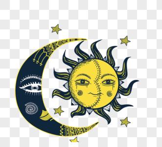 卡通表情月亮和太阳神秘元素图片