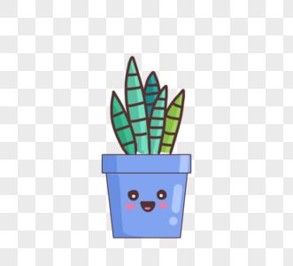 手绘可爱卡通绿色植物蓝色盆栽图片