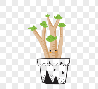 可爱卡通绿色植物黑色盆栽图片