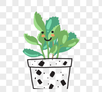 可爱卡通绿色植物线描盆栽图片