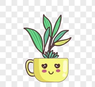 可爱卡通绿色植物黄色盆栽图片