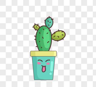 可爱卡通绿色植物盆栽图片