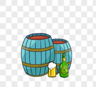 德国新颖蓝色木质红酒桶图片
