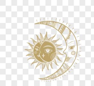 卡通手绘金色月亮和太阳神秘元素图片