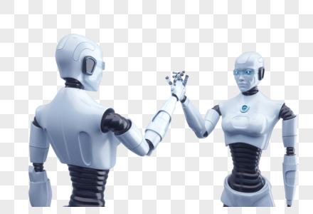 商务机器人合作图片