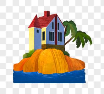 海岛上浪漫小房子图片