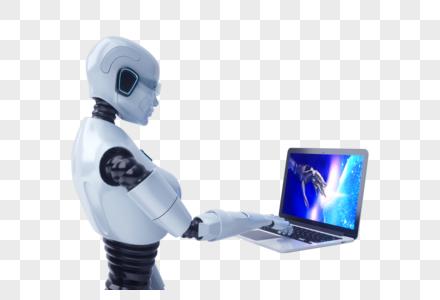 用笔记本的智能机器人图片