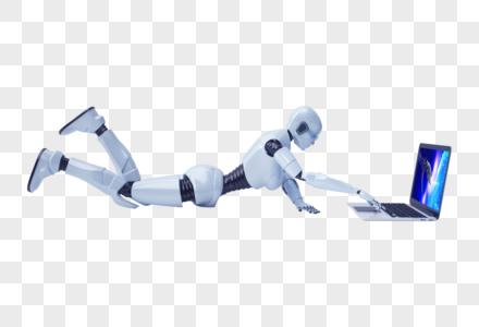 趴着玩电脑的智能机器人图片