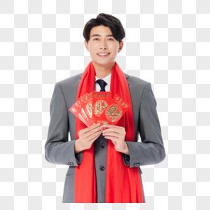 新年商务男性拿红包迎新春拜年图片