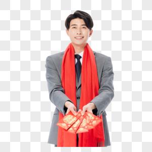 商务男性新年发红包图片