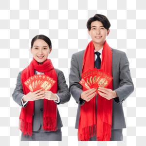 商务人士情侣喜庆过春节发红包图片