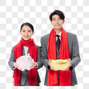 商务人士情侣喜庆过春节图片