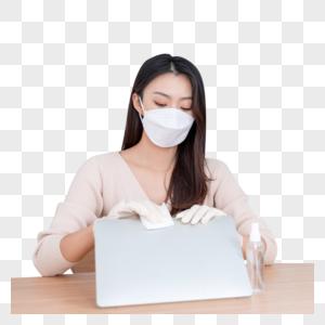 女性居家办公清洁消毒图片
