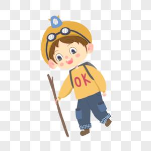 探险的男孩图片